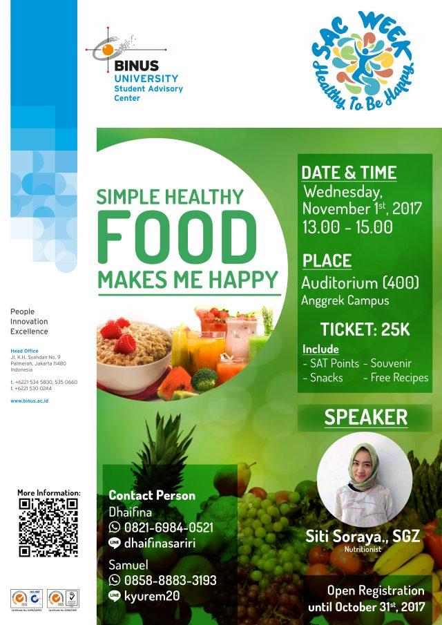 Sac Week Seminar Simple Healthy Food Makes Me Happy Student